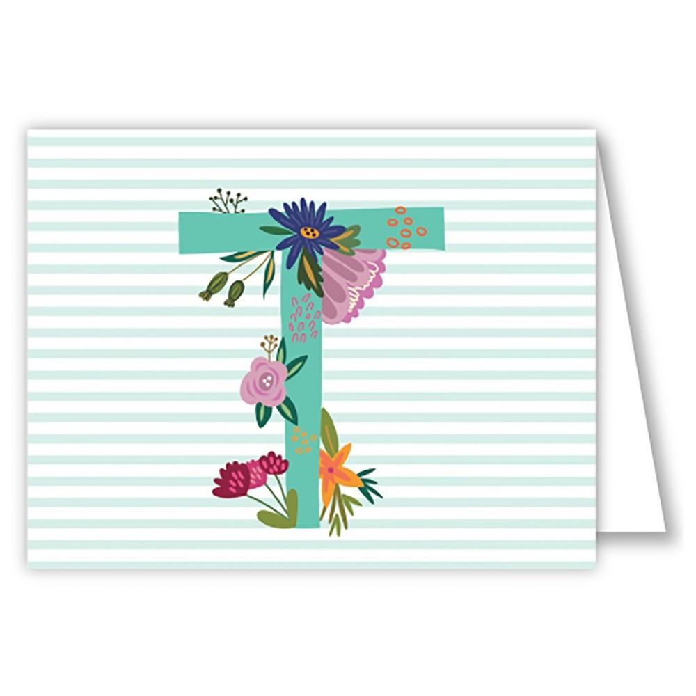 Folded Notes - Vintage Floral Monogram - T, Multicolored