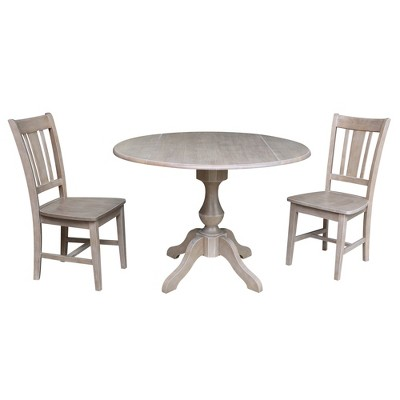 """30.3"""" Camille Round Top Pedestal Extendable Dining Table with 2 Chairs Washed Gray/Taupe - International Concepts"""