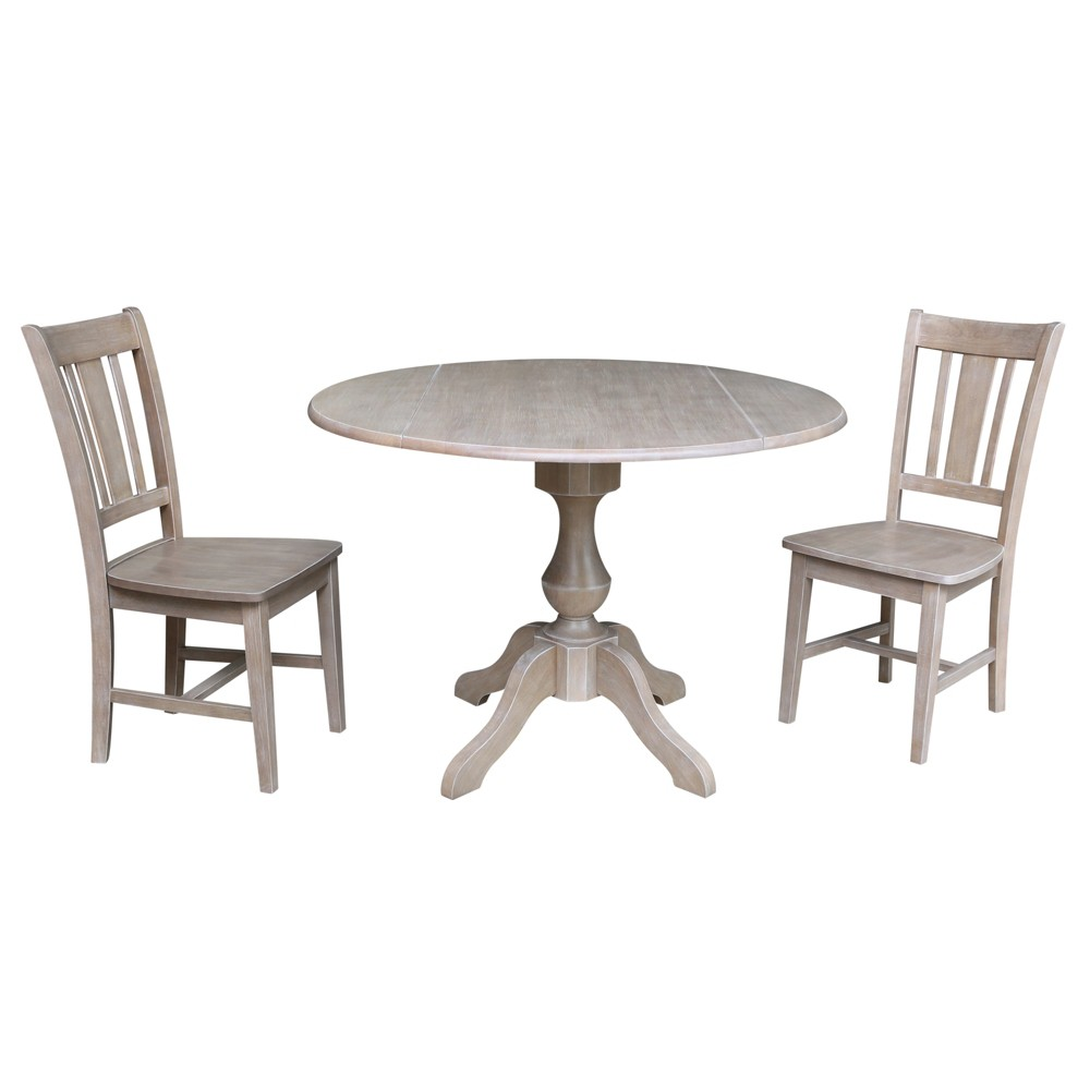 "Image of ""30.3"""" Camille Round Top Pedestal Table with 2 Chairs Washed Gray Taupe - International Concepts"""