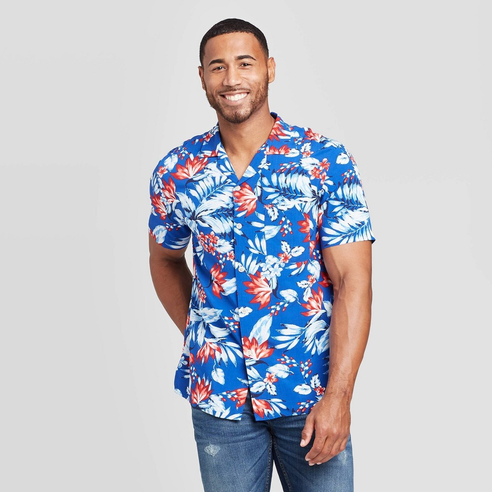 Men's Floral Print Standard Fit Short Sleeve Button-Down Camp Shirt - Goodfellow & Co Blue M was $19.99 now $12.0 (40.0% off)