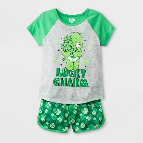 64ffc8bc372 Girls' Care Bears 2pc Pajama Set - Green