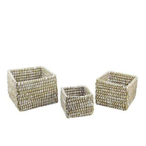 "Napa Home & Garden Set of 3 Square Rivergrass Storage Baskets 10"" - Green/White - image 1 of 1"