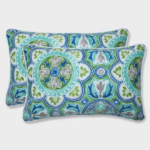 2pk Rectangular Lagoa Tile Pool Throw Pillows Blue - Pillow Perfect - image 1 of 1