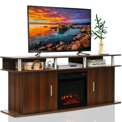 Costway 63'' Fireplace TV Stand W/18'' 1400W Electric Fireplace up to 70'' Walnut