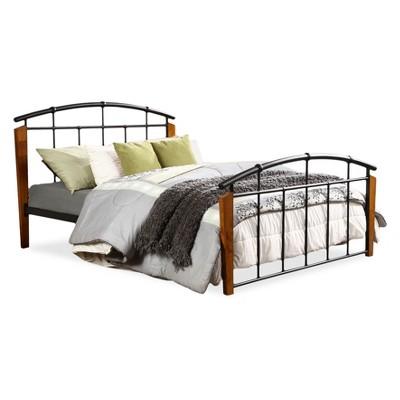 Optimus Modern And Contemporary Antique Dark Bronze Metal And Wood Queen Size Platform Bed- Queen - Dark Walnut - Baxton Studio