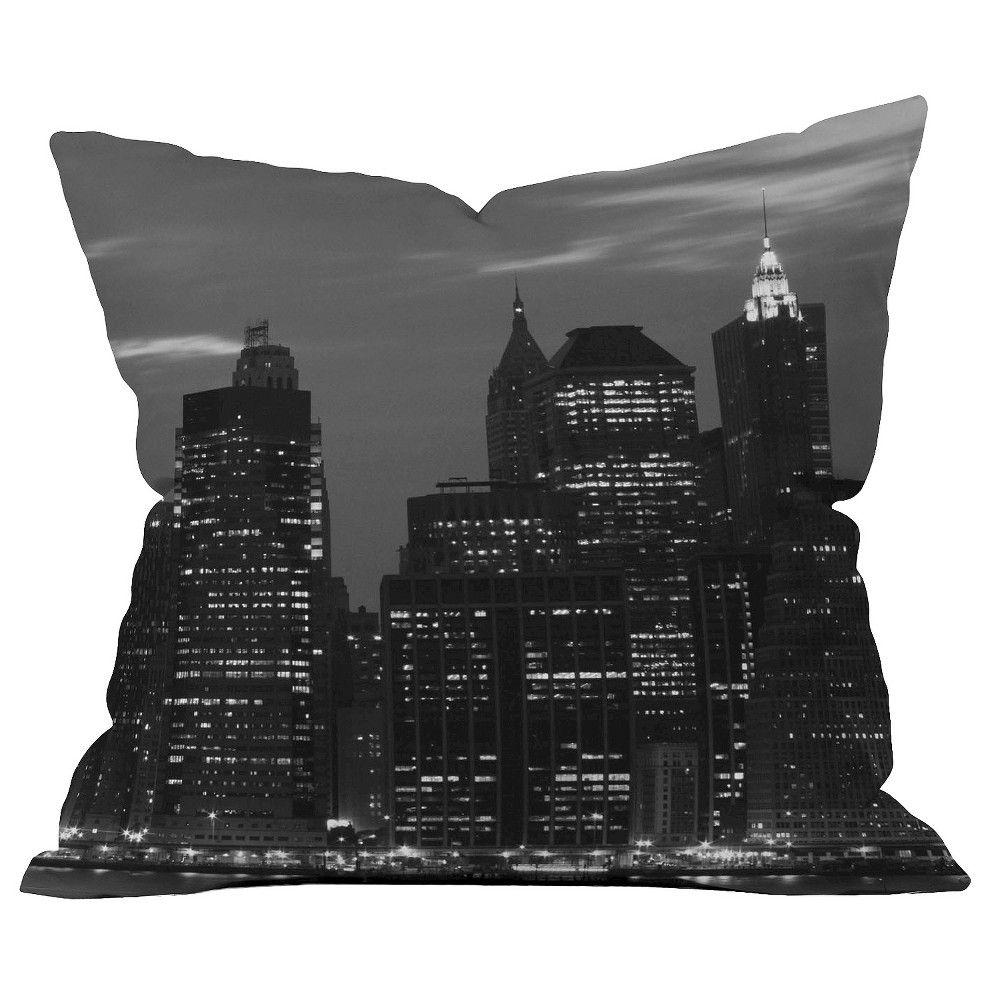 Image of Graphite New York Financial District Throw Pillow - Deny Designs