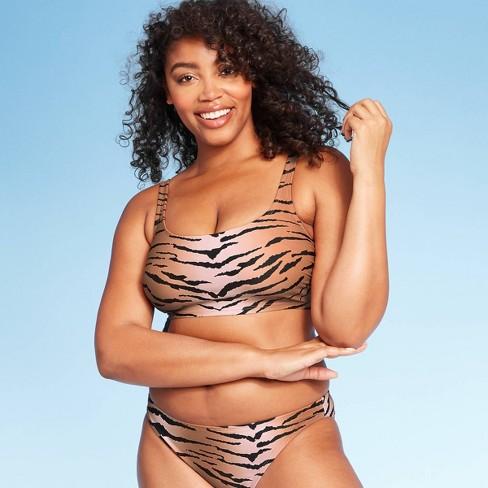 Women's Square Neck Bralette Bikini Swim Top - Xhilaration™ Animal Print - image 1 of 4