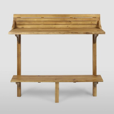 Rectangle Caribbean Acacia Wood Balcony Bar Table - Christopher Knight Home