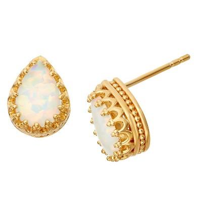 Sterling Silver Pear-Cut Crown Earrings