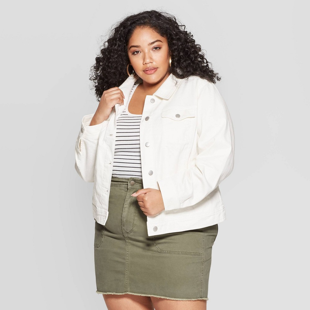 Women's Plus Size Freeborn Denim Jacket - Universal Thread White X