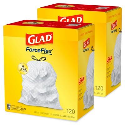 Glad Tall Kitchen Drawstring Trash Bags 13 Gallon Gray Trash Bag - Bundle