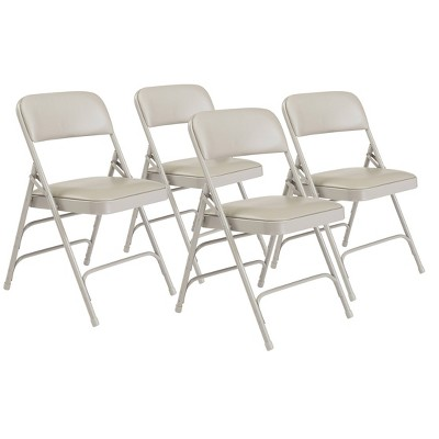 Set of 4 Premium Vinyl Padded Triple Brace Folding Chairs - Hampton Collection