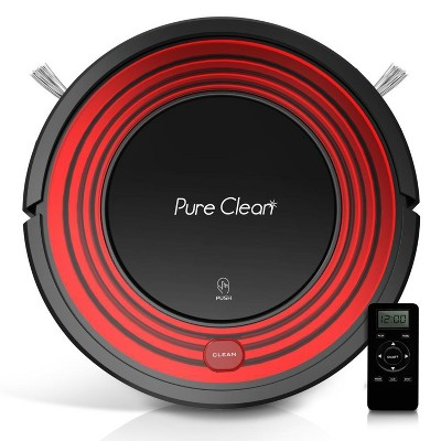 Pyle PUCRC95.5 PureClean Smart Automatic Programmable Robot Vacuum Home Cleaning System for All Indoor Floor Surfaces, Red