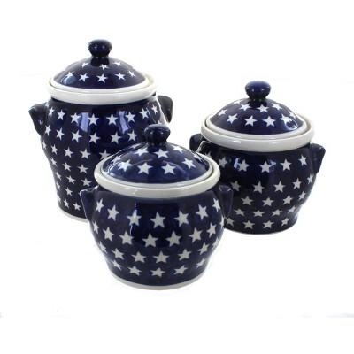 Blue Rose Polish Pottery Stars Canister Set