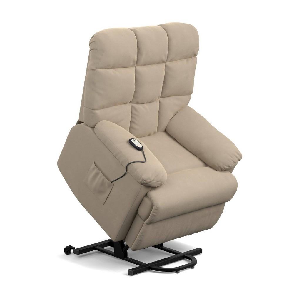 Image of Prolounger Microfiber Power Recline and Lift Wall Hugger Chair Khaki - Handy Living, Green