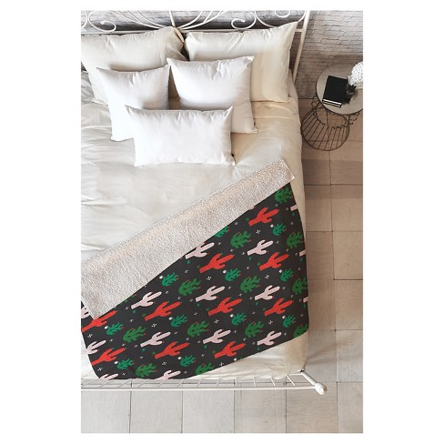 Christmas Throw Blanket.Green Geometric Zoe Wodarz Cactus Christmas Sherpa Throw Blanket 50 X60 Deny Designs