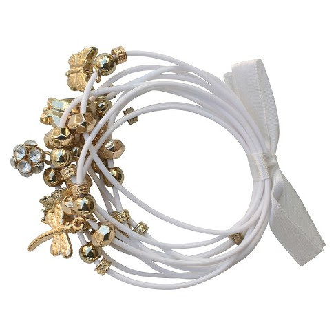 Zirconite Multi-Strand Bracelet with Flower and Butterfly Charms - White - image 1 of 1