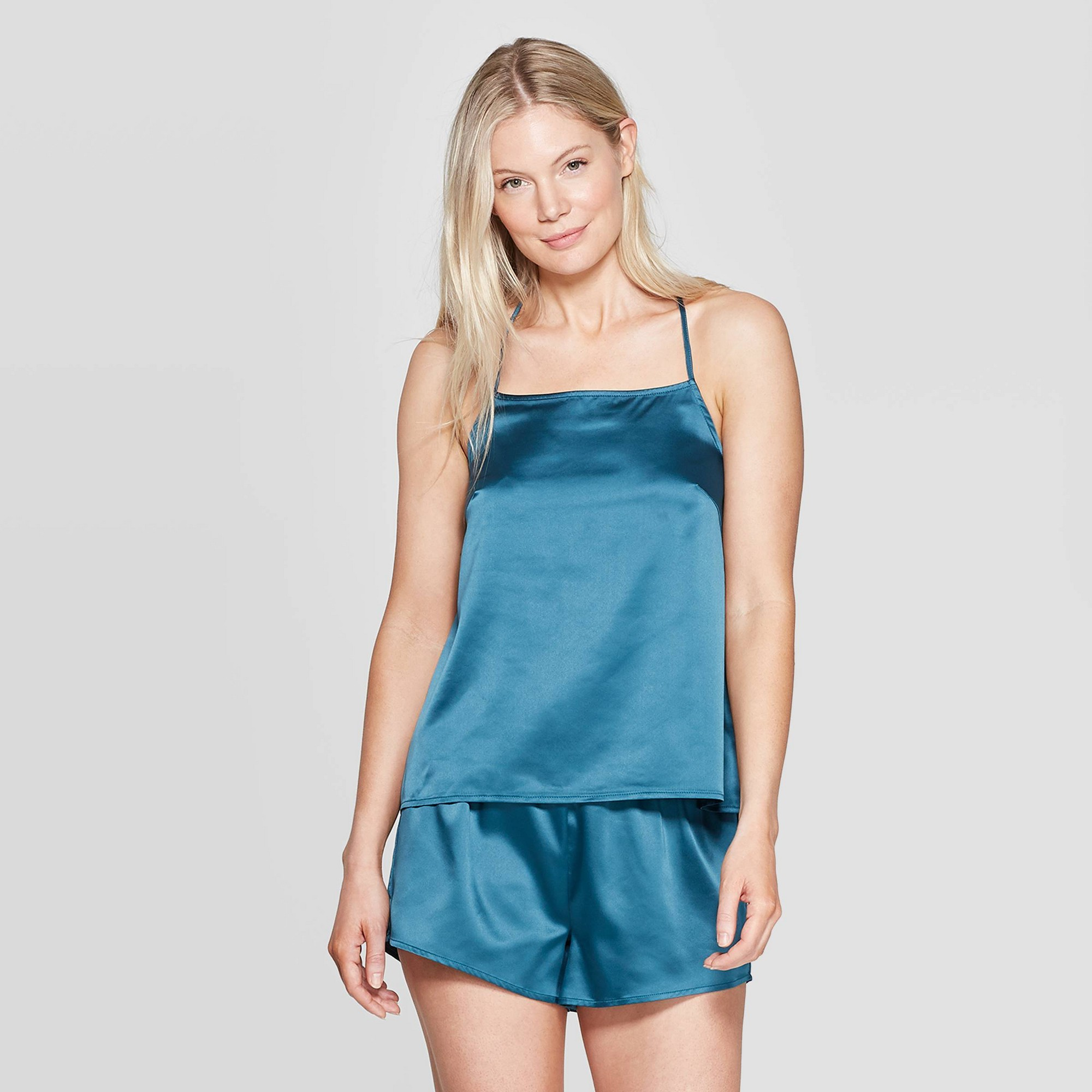 Women's Satin Sleep Camisole - Stars Above Teal (Blue) XS