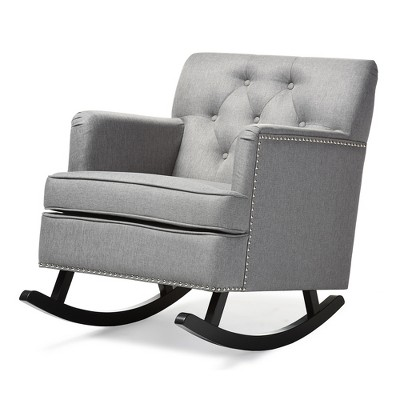 Bethany Modern and Contemporary Fabric Upholstered Button - Tufted Rocking Chair - Gray - Baxton Studio