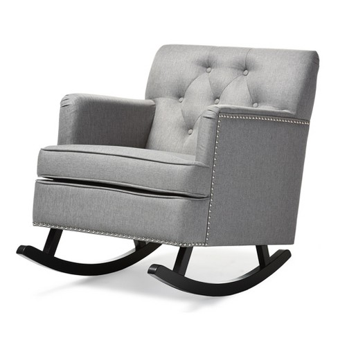 Bethany Modern And Contemporary Fabric Upholstered On Tufted Rocking Chair Gray Baxton Studio