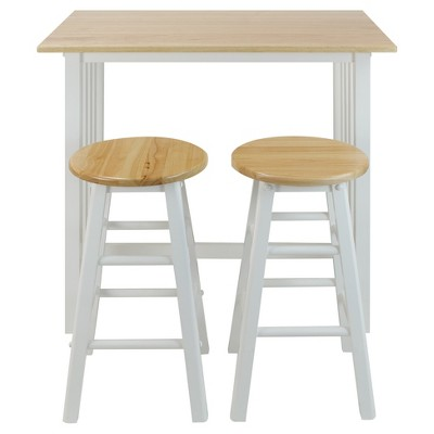 3pc Breakfast Counter Height Dining Set Made with Solid Wood White - Flora Home