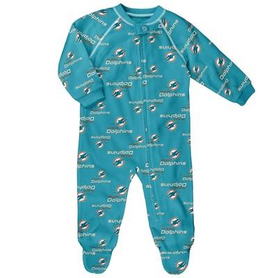 NFL Miami Dolphins Baby Boys' Blanket Zip-Up Sleeper - 6-9M