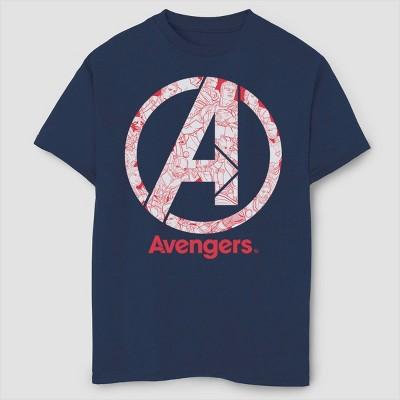 Boys' Marvel Line Art Logo Short Sleeve T-Shirt - Navy