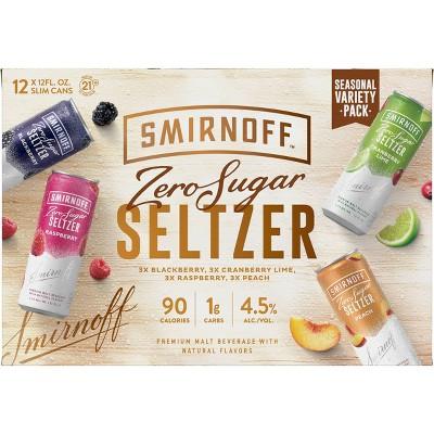 Smirnoff Zero Sugar Seltzer Variety Pack - 12pk/12 fl oz Cans