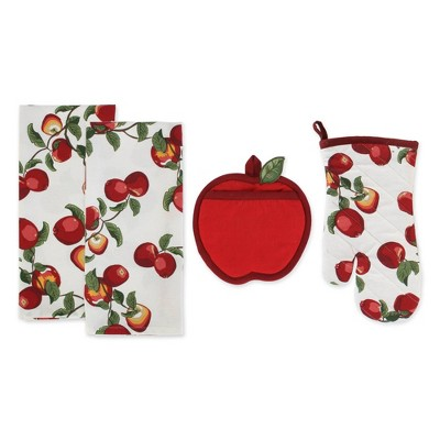 4pc Cotton Apple Orchard Pot Holder and Dishtowel Set Red - Design Imports