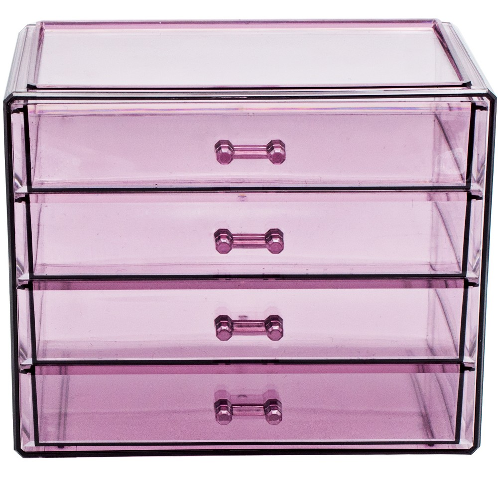 Sorbus Makeup and Jewelry Storage Case Display - 4 Large Drawers - Pink
