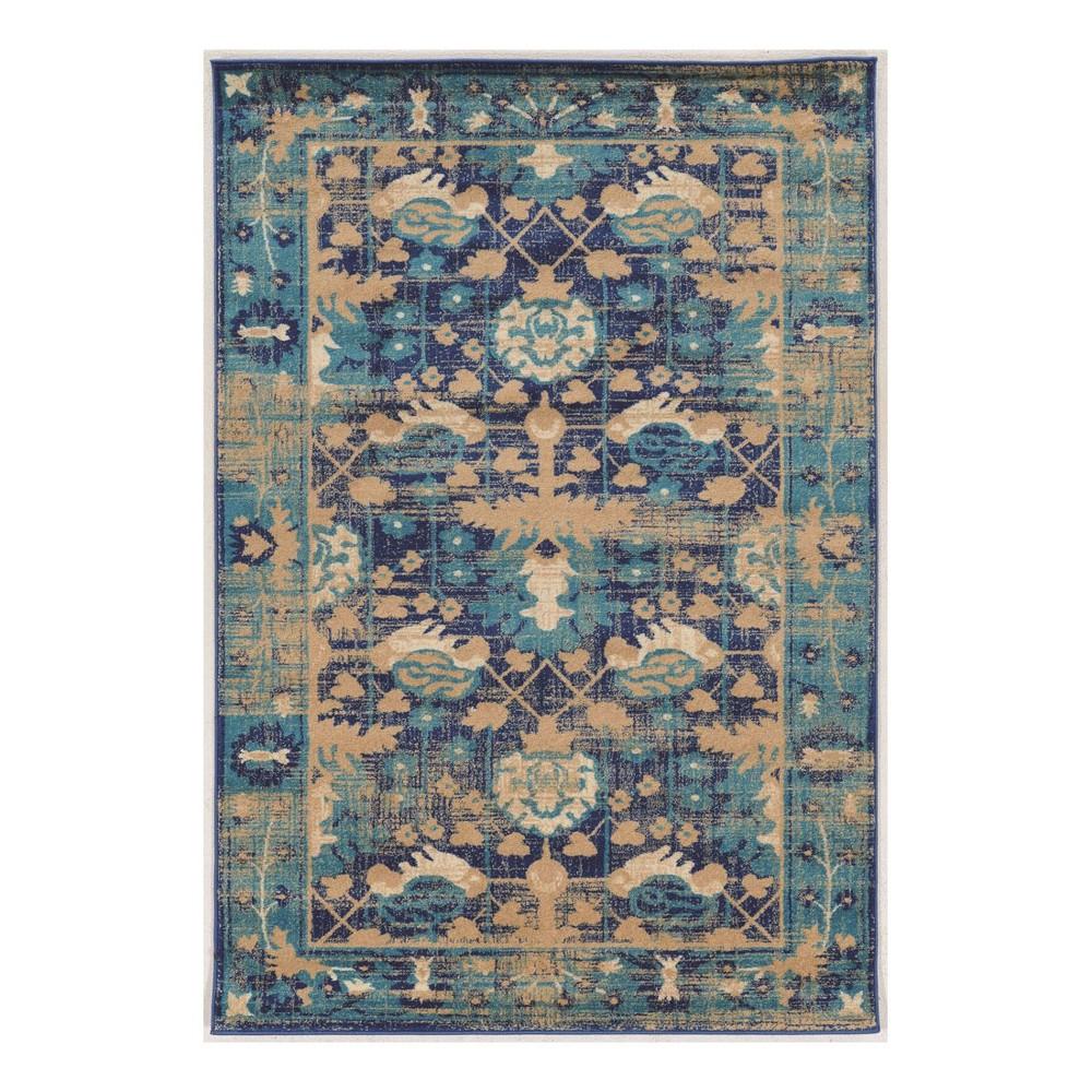 Turquoise Jacquard Loomed Area Rug 8'X10'6 - Linon, Beige Blue