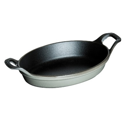 Staub Cast Iron 12.5-inch x 9-inch Oval Baking Dish - Graphite Grey