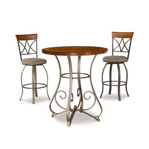 3pc Carter Swivel Dining Sets Metal/Tan/Cherry - Powell Company - image 1 of 4