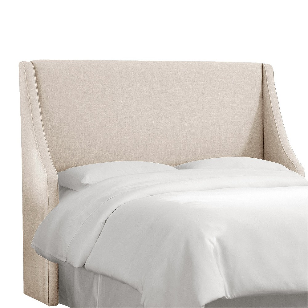 California King Swoop Arm Wingback Headboard Linen Talc - Skyline Furniture