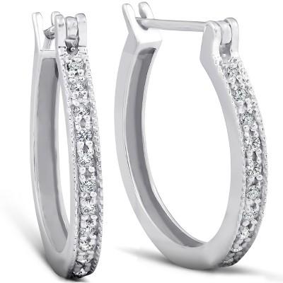 Pompeii3 1/4ct Diamonds Hoops Milgrained 14K White Gold