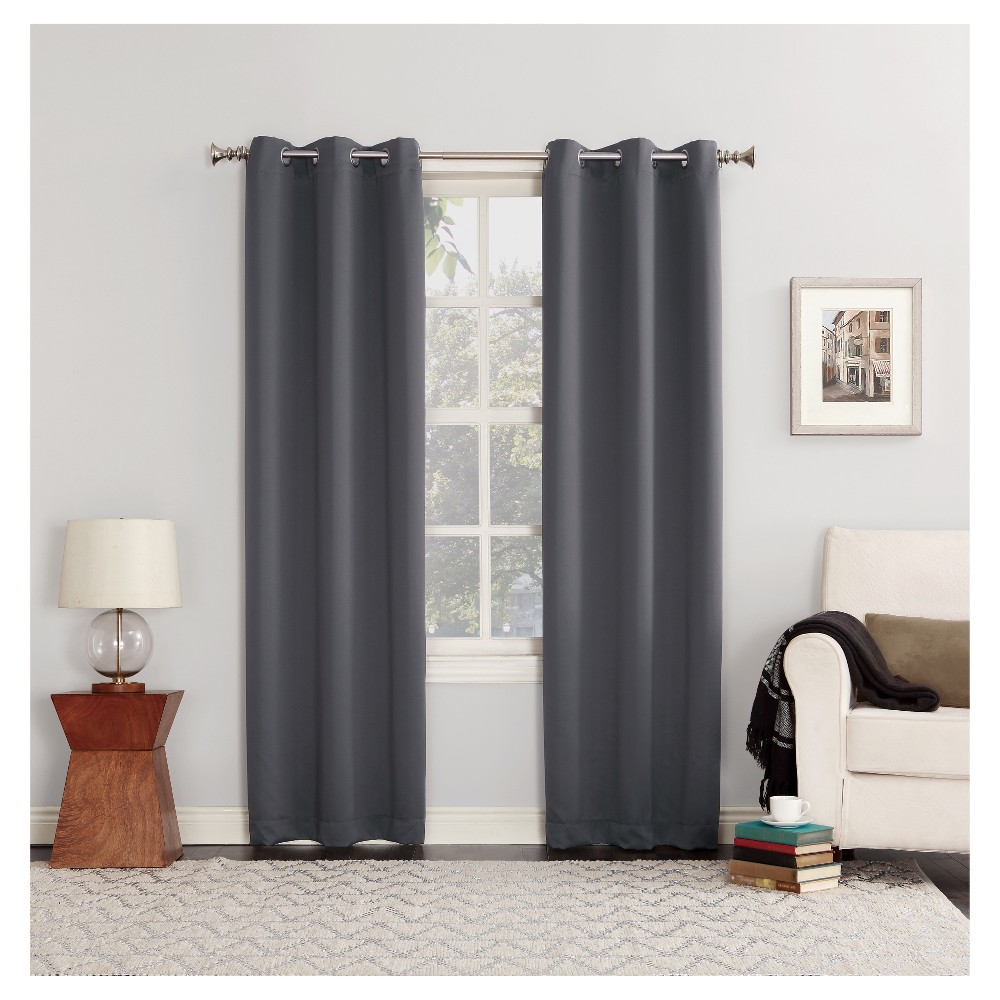 "Image of ""40""""x108"""" Kenneth Blackout Energy Efficient Grommet Curtain Panel Charcoal - Sun Zero"""
