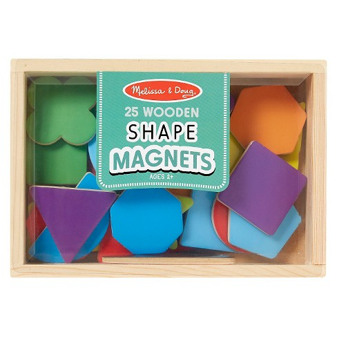 Melissa & Doug® 25 Wooden Shape and Color Magnets in a Box - image 1 of 2