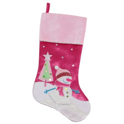"""Northlight 20.5"""" Pink Embroidered Ice Skating Snowman and Christmas Tree Stocking"""