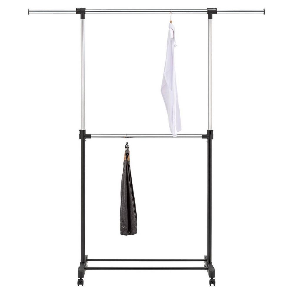 Top Adjustable Double Rod Garment Rack Black - Room Essentials