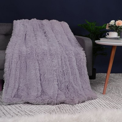 1 Pc Throw Faux Fur Shaggy Ultra Fiber Bed Blankets Purple  - PiccoCasa