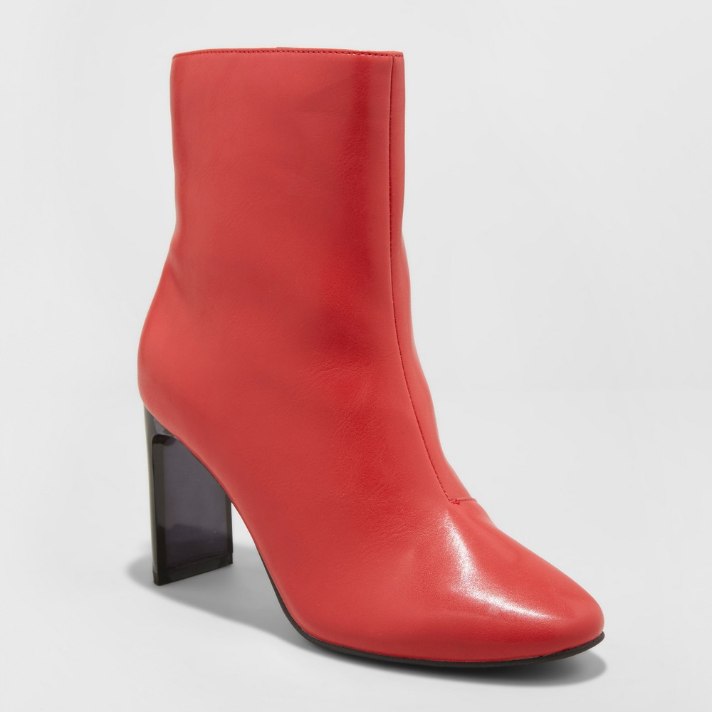 Women's Chelsea Heeled Fashion Boots - A New Day Red 8