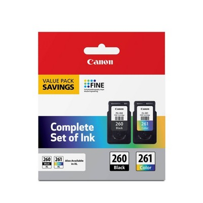 Canon PG-260 Black 261 Color 2pk Ink Cartridges - Black Tri-color (3725C006)
