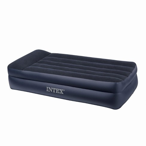 Intex Twin Raised Pillow Air Mattress With Built In Electric Pump