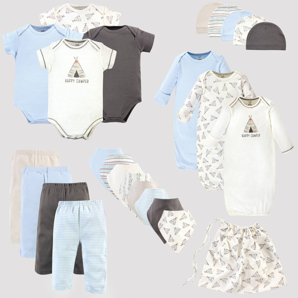 Image of Touched by Nature Baby 25pc Organic Cotton Gift Cube Bodysuit - Tepee - White/Light Blue 0-6M, Kids Unisex, Size: 0-6 Months, Blue/White