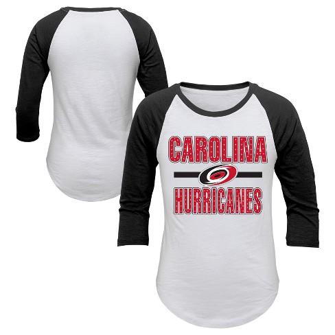 NHL Carolina Hurricanes Girl s Hot Shot White  3 4 Sleeve T-Shirt ... 2b7a72d4a33