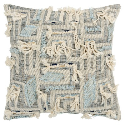 """20""""x20"""" Oversize Abstract Lines Square Throw Pillow Cover Gray - Rizzy Home"""