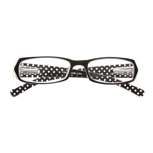 ICU Eyewear Rectangle Reading Glasses with Red Case - Black Front and Polka Dot - image 1 of 7