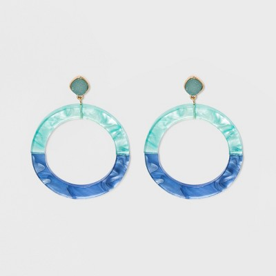 Sugarfix By Bauble Bar Colorful Resin Hoop Earrings With Druzy by Sugar Fix By Bauble Bar