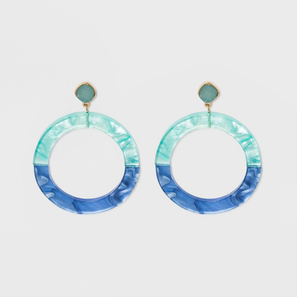 Sugarfix by BaubleBar Colorful Resin Druzy Hoop Earrings - Turquoise, Girl's