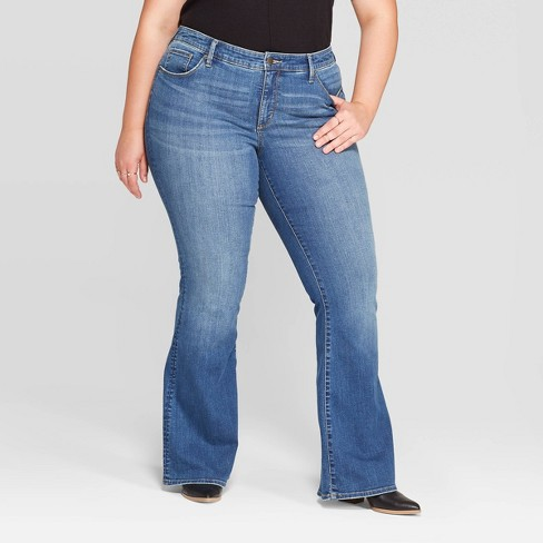 Women's Plus Size Mid-Rise Flare Jeans - Universal Thread™ Medium Blue - image 1 of 3